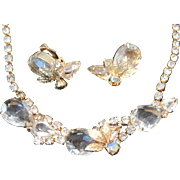 Vintage Juliana style demi parure in goldtone, crystal and rhinestone