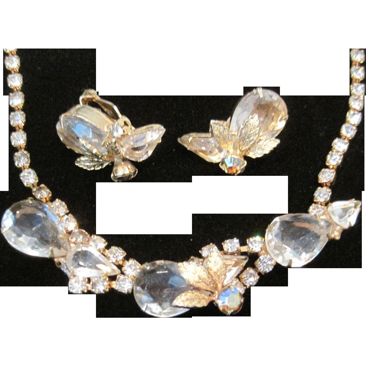 Vintage Juliana style demi parure in goldtone, crystal and rhinestone