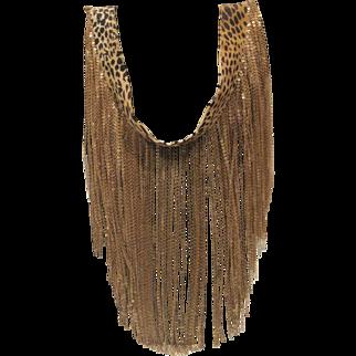 Vintage gold tone multi chain necklace