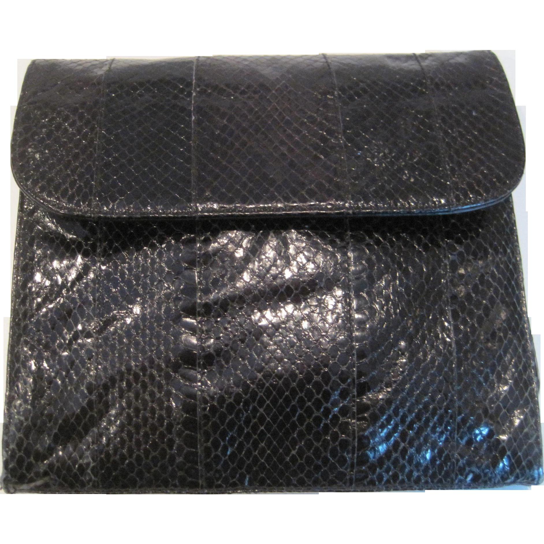 Vintage hasting & smith black snakeskin purse