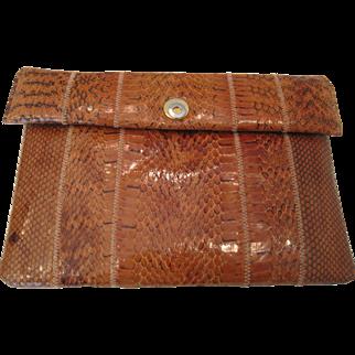 Vintage light orange snakeskin clutch purse