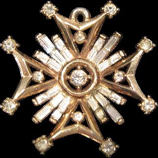 Vintage Crown Trifari goldtone and sparkly rhinestone pendant