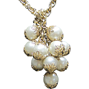 Vintage Simulated Pearl Cluster Lariat Necklace with Color Gold Chain & Bead Caps