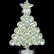 Vintage ice rhinestone Christmas tree pin