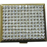 SALE Vintage rhinestone compact gold  color metal frame