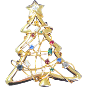 Vintage multicolor rhinestone Christmas tree pin