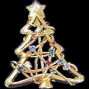 Vintage multicolor rhinestone Christmas tree pin
