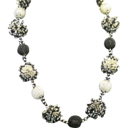 SALE Vintage black and white seed bead balls necklace