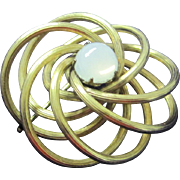 SALE Vintage gold tone metal looped with moonstone pin