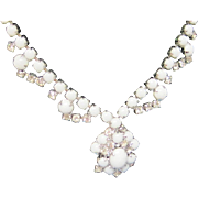 SALE Vintage white glass and ice rhinestone pendant choker necklace