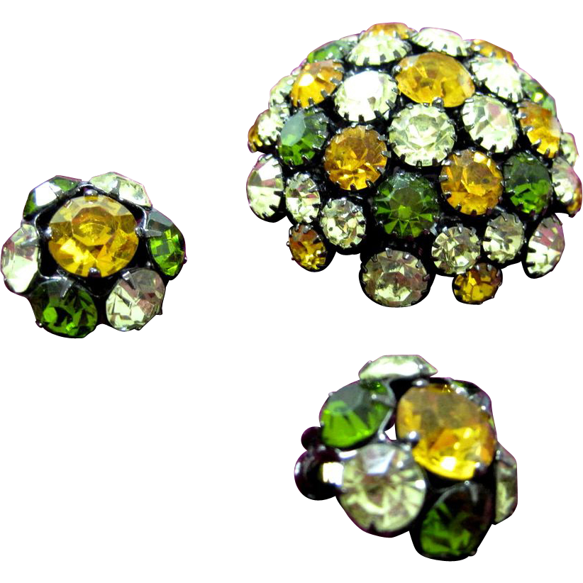 SALE Vintage domed fall colors rhinestone pin set