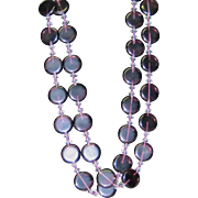 Vintage long purple glass necklace with discs and crystals