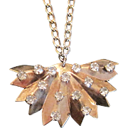 SALE Vintage sterling silver fan pendant necklace with rhinestones