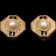 SALE 50% Vintage SAL faux pearl, black enamel and rhinestone earrings