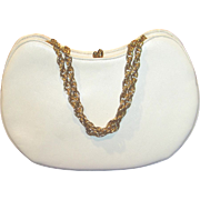 SALE 50% Vintage crescent shape white leather purse