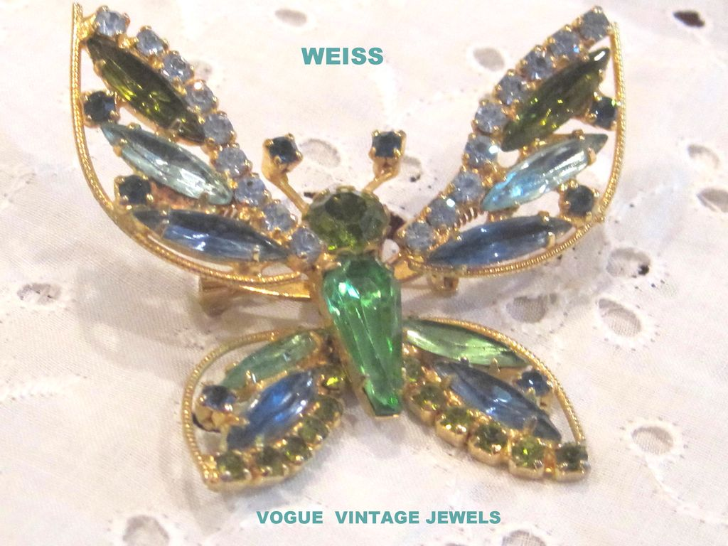 Sale Vintage Weiss trembler butterfly pin