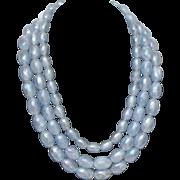 SALE Vintage light blue triple strand vaseline bead necklace