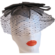 Vintage black bow with veil cocktail hat