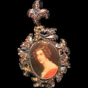 Vintage  Strongwater portrait pin on black velvet  ribbon