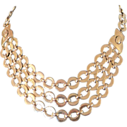 Vintage Trifari triple strand golden metal necklace