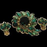 Vintage green Christmas pin and earring set Juliana style