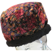 Vintage soft velvet pull on colorful hat