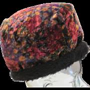 Vintage soft velvet pull on colorful hat