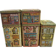 Vintage Tin Village Advertising Canister Community