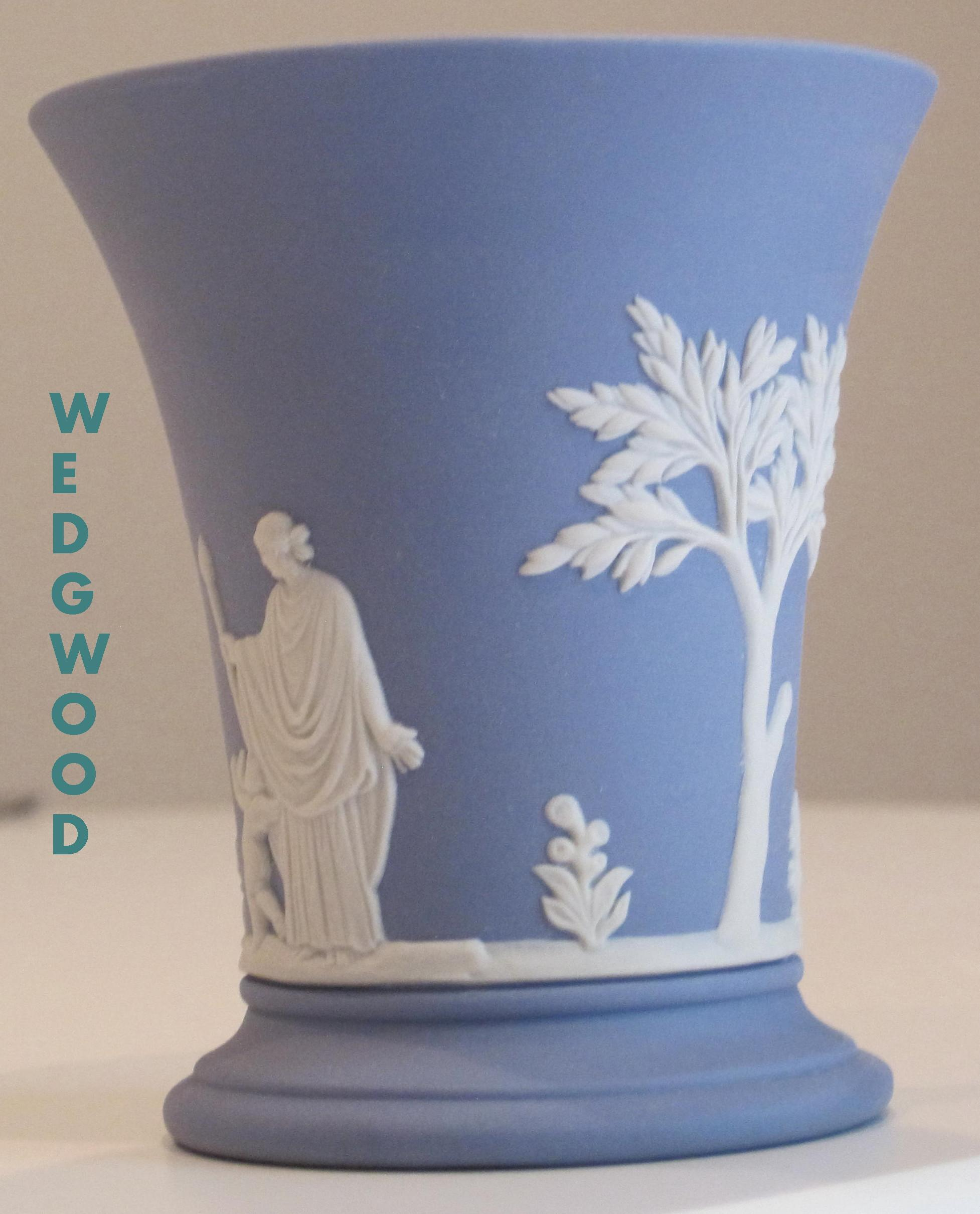 Vintage Wedgwood Portland Blue Jasperware Posy Pot Red