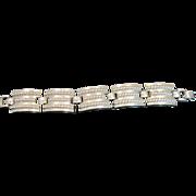 Vintage silver tone metal five link bracelet