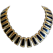 Vintage Monet  Egyptian style black enamel necklace