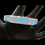 Vintage hexagonal turquoise color enamel bracelet
