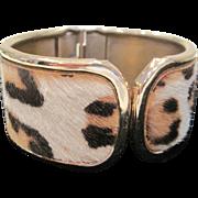 Vintage  faux fur leopard print clamper bracelet