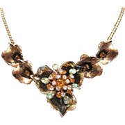 Vintage gold tone pansy short necklace