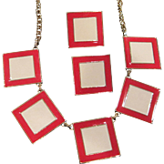 Vintage cream and red enameled squares necklace set