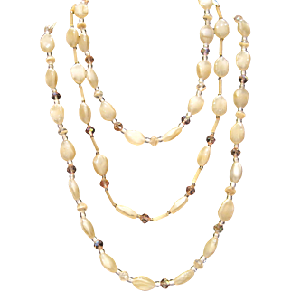 Vintage glamour triple strand creamy beige glass with small amber colored crystals