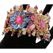 Vintage colorful beaded and sequinned fabric bracelet