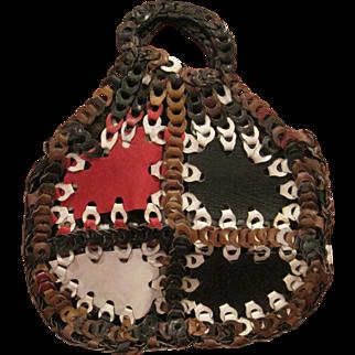 Vintage multiple colored all leather loop purse