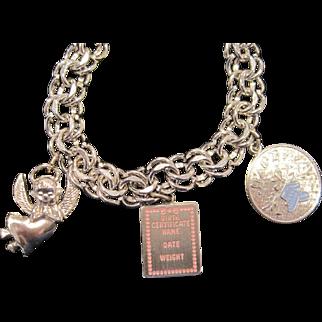 Vintage Sterling Silver new baby charm bracelet