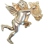 Vintage angel with lyre pin