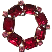 Vintage red glass and pink rhinestone Christmas wreath pin