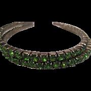 Vintage green rhinestone stretch bracelets