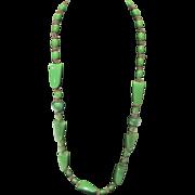 Vintage green resin necklace