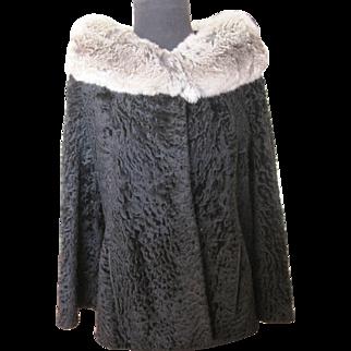Vintage Black Persian Lamb Broadtail Jacket