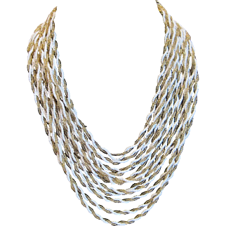 Vintage gold and white twisted seed bead necklace