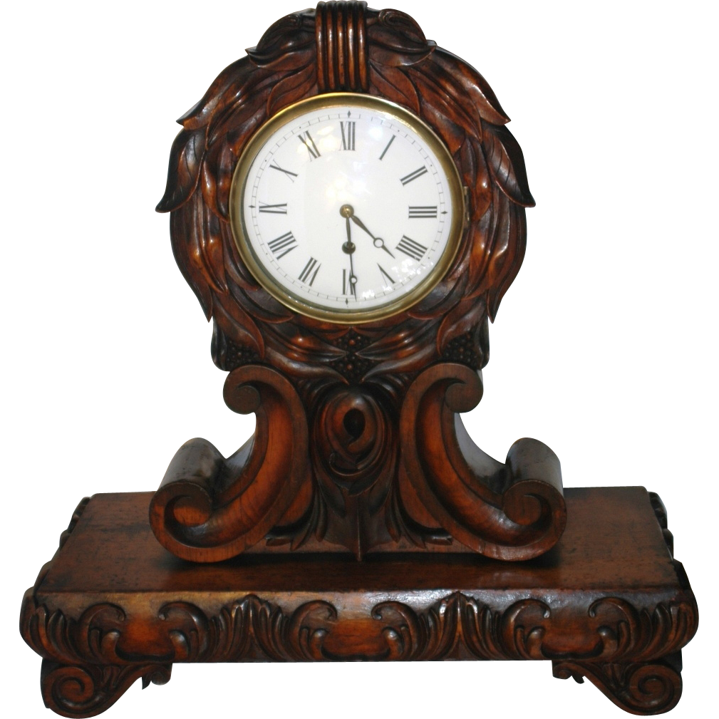 Antique English Carved Mahogany Fusee Movement Mantel Clock From Rubylane Sold On Ruby Lane