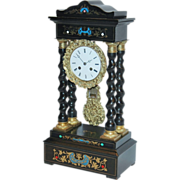 "Antique French, ""Japy Freres"", Inlaid and Gilded Empire Mantel Clock"