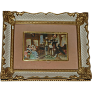 c.1950s Italian Watercolor Miniature Painting on Celluloid
