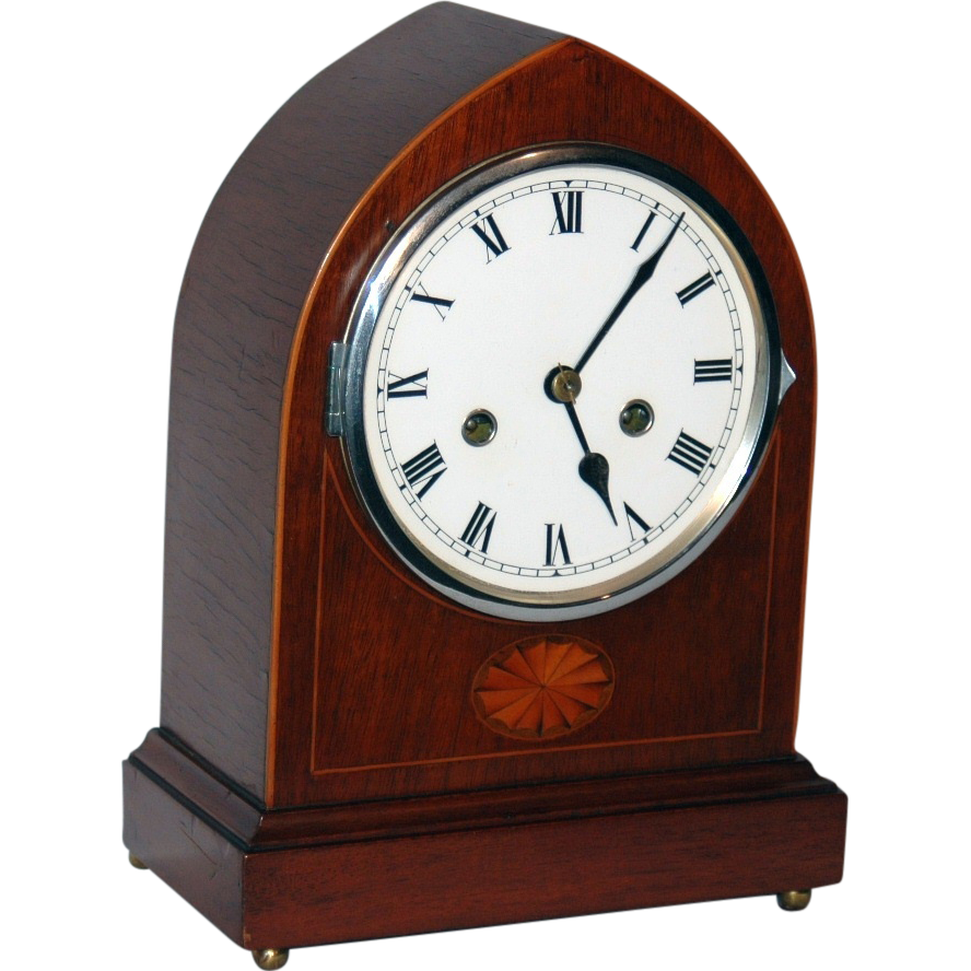 c.1930 English Mahogany & Inlay 8 day Time & Chime Bracket Clock