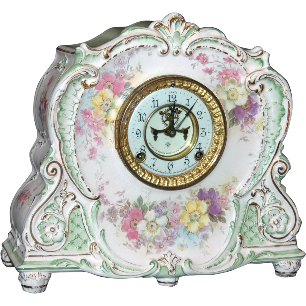Antique Ansonia Royal Bonn Porcelain Mantel Clock